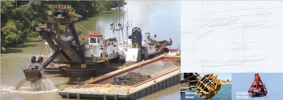 Dredging barge with insets of boring head and dragline bucket
